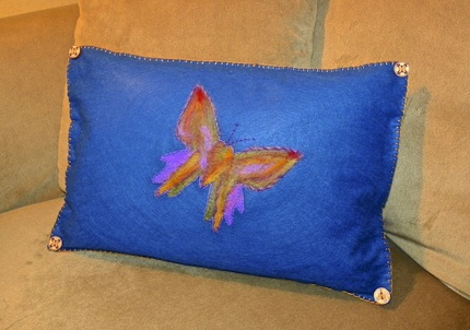 Needlefelted butterfly pillow