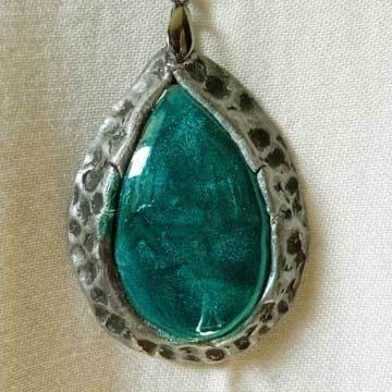 Turquoise and Silver Teardrop Pendant Necklace