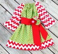 Girls Boutique Christmas Peasant Dress