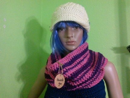Long Pink and Purple Infinity Scarf