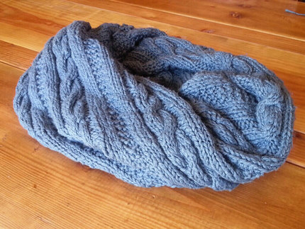 The Magical Twisted Cowl - knitting pattern for pre-twisted cabled chunky cowl - soft cotton!