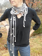 Shades of Grey Roped and Tied Scarf Necklace - Knitting Pattern for a modern, sexy, light scarf with cords and wool beads