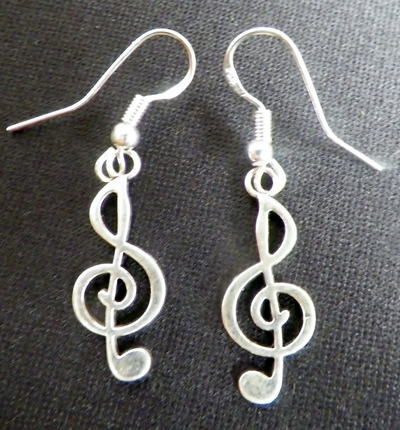 Treble Clef Silver Earrings