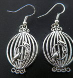 Love Birds in Victorian Cage Silver Earrings