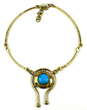 South African Turquoise Balance Brass Necklace