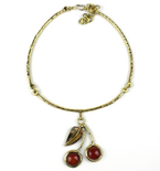 Carnelian Brass Cherry Necklace
