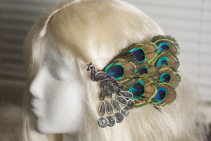 Peacock and Peacock Feather Hair Barrette