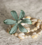 Cowrie Shell and Blue Flower Hair Barrette