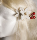 White Pointsetta and Berries Hair Flowers