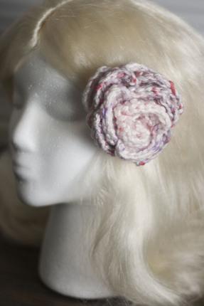 Pink Confetti Crochet Flower Hair Barrette