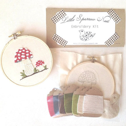Amanita Muscaria Woodland Embroidery Kit Mushroom Embroidery Set