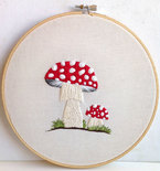 Mushroom Embroidery Decor Amanita Muscaria Mushrooms Portrait Mycology Embroidered Wall Hoop Art