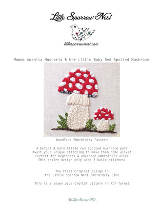 Momma Amanita Muscaria & her Little Baby Red Spotted Mushroom Woodland Embroidery Pattern