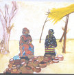 African Potters at a Market  Modern Painting Original Fine Art