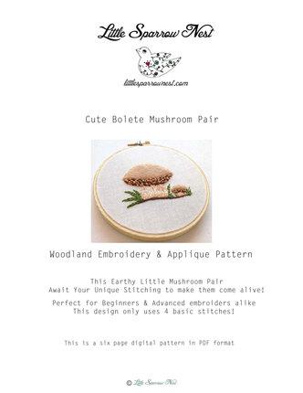 Sweet Bolete Pair Mushroom Woodland Embroidery & Applique Pattern