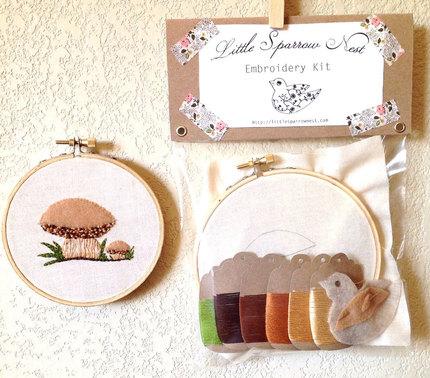 Bolete Mushrooms Woodland Embroidery Kit Mushroom Embroidery Set