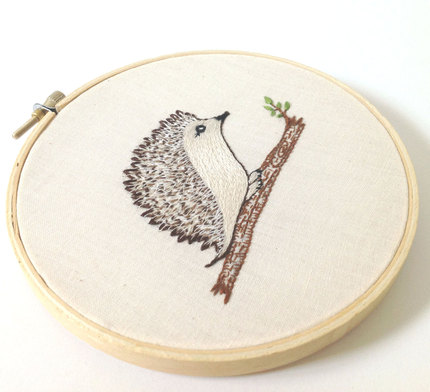 Embroidery Hoop Art Hedge Hog on a Log Original Woodland Forest Decor Illustration Embroidery Wall Art Delicate Hand Embroidery