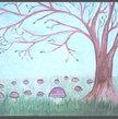 Original Fine Art  Landscape Painting Budding Tree & Bolete Mushroom Painting
