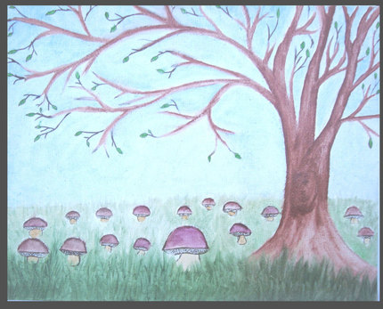 Original Fine Art  Landscape Painting Budding Tree & Bolete Mushroom Painting