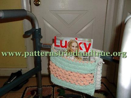 Crochet Pattern DIY for Walker or Wheelchair Tote Scrapbooked Digital Instant Download PDF File