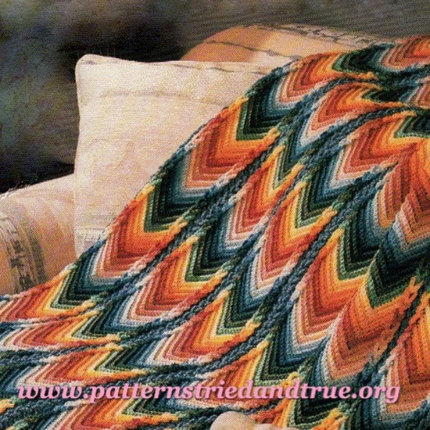 Crochet Pattern DIY for Chevron/ Ripple Afghan  with emphasis on no sew joining technique Scrapbooked Digital  Instant Download PDF File