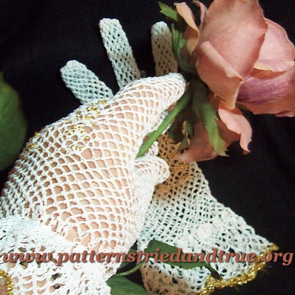Crochet Pattern DIY for Lady's mesh Gloves, Scrapbooked Digital Instant Download PDF File