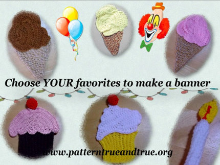 Crochet Pattern DIY for Birthday Party Cup Cake Ice-cream Cone Banner Scrapbooked Digital Download Beginner Friendly PDF