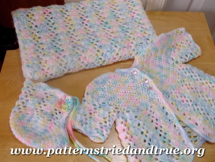 Crochet Pattern DIY for Baby Layette: Hat, Sweater, Booties, Blanket, Scrapbooked Digital Instant Download PDF File