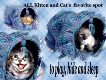 Crochet Pattern DIY Cat Toy Play Tunnel Scrapbooked Digital Instant Download