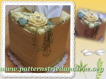 Crochet Pattern DIY Tissue/ Kleenex Box Cover with Beaded Floral Embellishments, Scrapbooked Digital  Instant Download PDF File