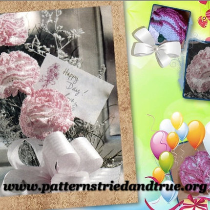 Crochet Pattern DIY for Carnation, Realistic Bouquet or Corsage,Scrapbooked Digital  Instant Download PDF File