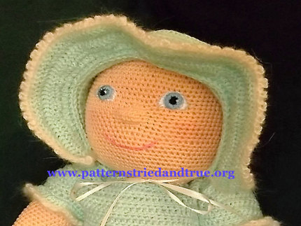 Crochet Pattern DIY for Doll Dress with Apron, Bonnet and Booties which  fits American Girl Doll,  Scrapbooked Digital  Instant Download