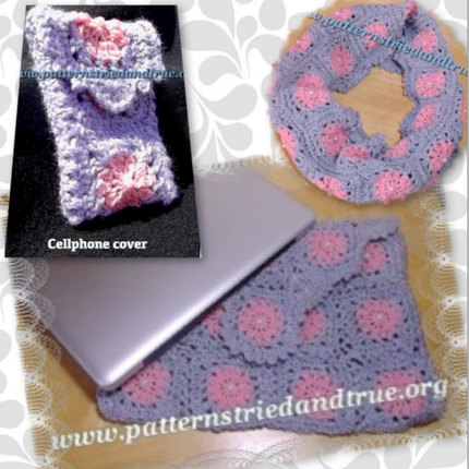 Crochet Pattern DIY Granny Square with pearls, Computer Sleeve for Mac Pro, Scrapbooked Digital  Instant Download PDF