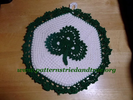 Crochet Pattern Diy Irish Clover Pot Holder Scrapbooked