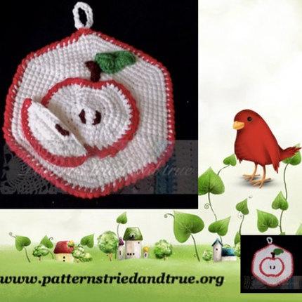 Crochet Pattern DIY for Apple Potholder, Scrapbooked Digital  Instant Download PDF File