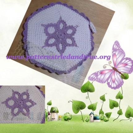 Crochet Pattern DIY  Medallion Applique Potholder, Scrapbooked Digital Instant Download PDF File