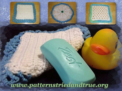 Crochet Pattern DIY for Cotton Washcloth/ Dishcloth, 3 Different Styles in One Pattern