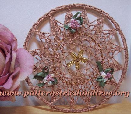 "Crochet Pattern DIY  Sun Catcher Beaded  With Ribbon Flowers  7""Diameter, Scrapbooked Digital  Instant Download PDF File"
