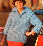 Vintage Knitting Pattern - Women's Slipon with Collar - 1960's Retro Mod Bulky Ribbed Sweater with Wide Collar