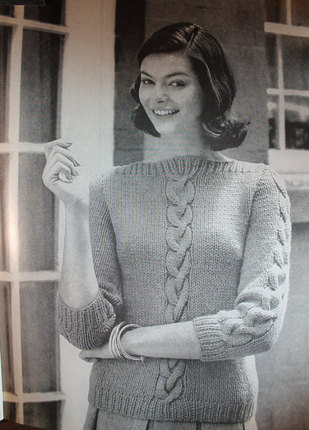 Vintage Knitting Pattern - Women's Cable Interest Sweater - 1960's Mod Cabled sweater with boatneck