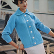 Vintage Knitting Pattern - Women's Continental Design Sweater - 1960's Retro Mod Button-up sweater with wide collar