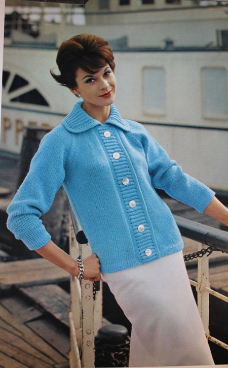 c8c2703c4 Vintage Knitting Pattern - Women s Continental Design Sweater - 1960 s Retro  Mod Button-up sweater with wide collar - woolfsclothing s Shop - Craftfoxes