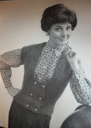 Vintage Knitting Pattern - Women's Mohair Double Breasted Vest - 1960's Retro Mod Sweater Vest with Scoop Neck - some crochet