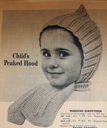 Vintage Knitting Pattern - Child's Peaked Hood with scarf - 1950's Kids or Baby hat