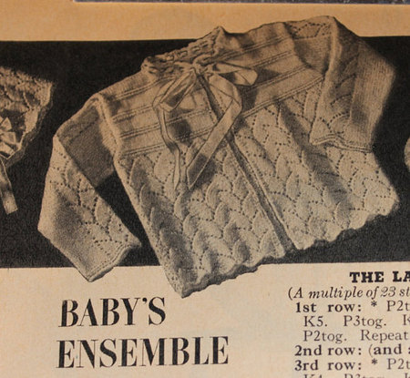 Vintage Knitting Pattern Baby Jacket With Lace Pattern 1950s