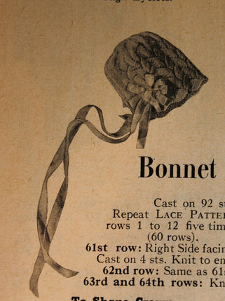 Vintage Knitting Pattern - Baby Bonnet with Lace Pattern - 1950's original Baby Bonnet - Part of Baby's Ensemble