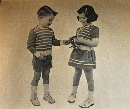 Vintage Knitting Pattern Kids Matching 3 Piece Sets