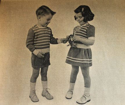 Vintage Knitting Pattern - Kids Matching 3-Piece Sets - 1950's original Girls and Boys Pullover Sweater, Cardigan, and Shorts or Skirt