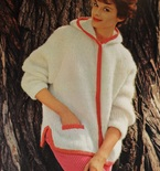 Vintage Knitting Pattern - Women's Mohair Jacket with Hood - 1960's Retro Mod Bulky Sweater
