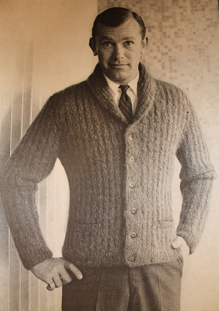 Hipster Vintage Knitting Pattern Mens Mohair Cardigan Mad Men